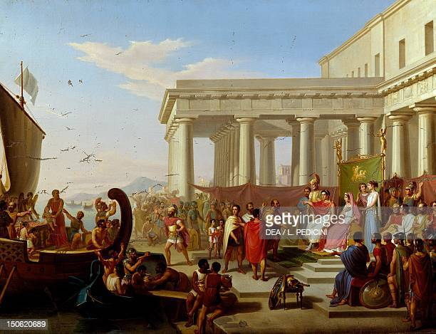 Gelon granting peace to the vanquished Carthaginians on the condition they no longer make human sacrifices by Michele Panebianco ca 1850 oil on...