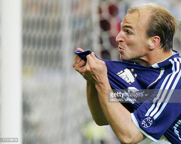 Argentinian midfielder Esteban Cambiasso jubilates after scoring during the FIFA World Cup 2006 group C World Cup football match Argentina vs...