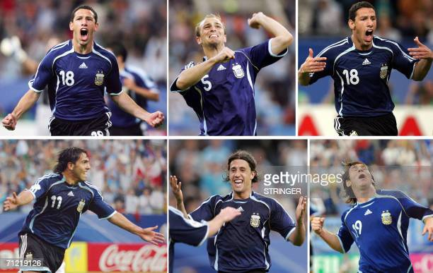 Combo of six pictures showing the celebrations of Argentinian players after they scored six goals to Serbia Maxi Rodriguez Esteban Cambiasso Maxi...