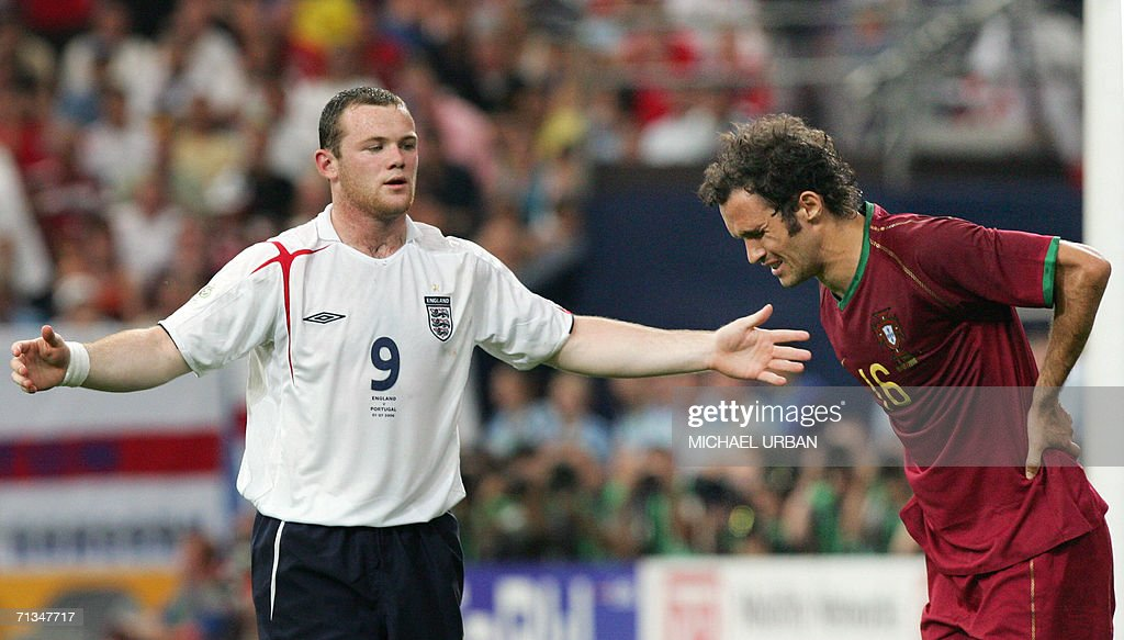 English forward Wayne Rooney (L) gestures while Portuguese defender Ricardo Carvalho reacts during the World Cup 2006 quarter final football game England vs. Portugal, 01 July 2006 at Gelsenkirchen stadium.