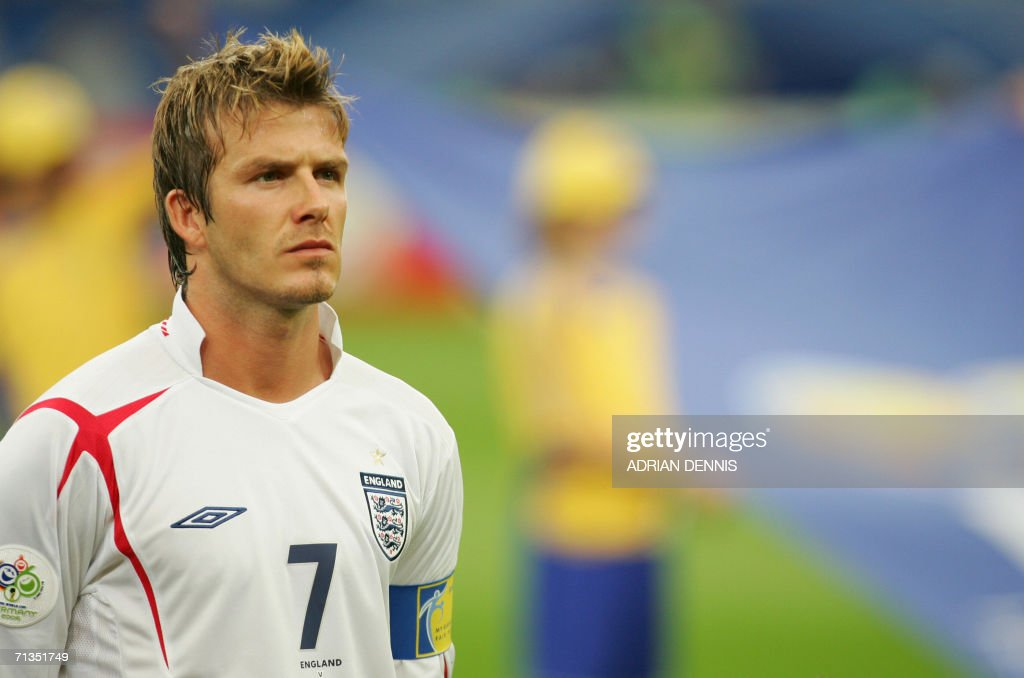 English midfielder and captain David Beckham listens to his national anthem prior to the World Cup 2006 quarter final football game England vs. Portugal, 01 July 2006 at Gelsenkirchen stadium. An emotional David Beckham resigned as England captain, 02 July 2006, after nearly six years following his side's World Cup quarter-final exit to Portugal.