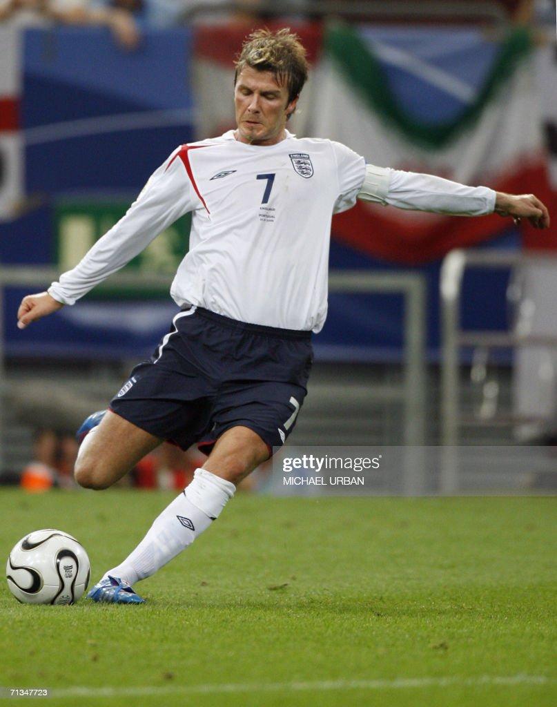 English midfielder David Beckham shoots a free kick during the World Cup 2006 quarter final football game England vs. Portugal, 01 July 2006 at Gelsenkirchen stadium.