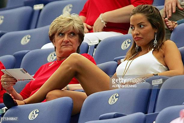 The mother of English midfielder David Beckham Sandra and Elen Rives the girlfriend of English midfielder Frank Lampard await prior to the World Cup...