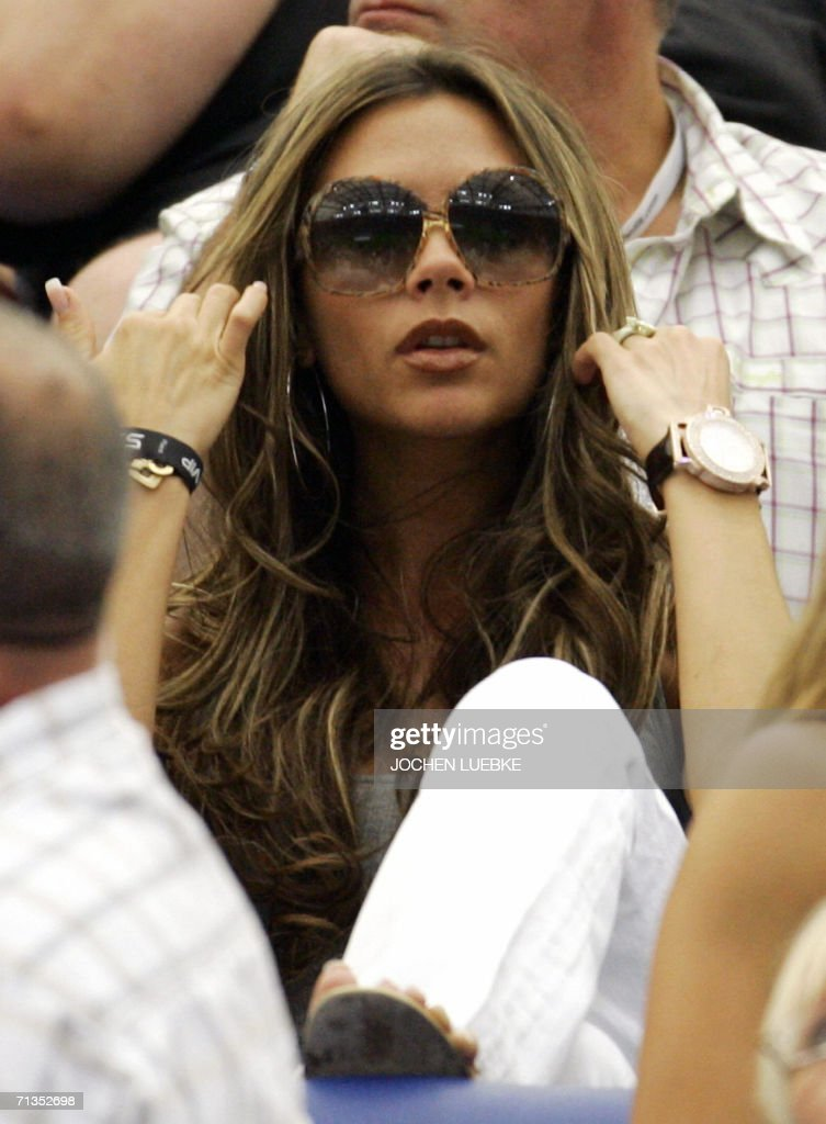 Victoria Beckham, the wife of English football player David Beckham, pictured during the World Cup 2006 quarter-final football game England vs. Portugal at Gelsenkirchen stadium. England's players were inconsolable Saturday, knowing they should have done better after crashing out of the World Cup to Portugal on penalties.