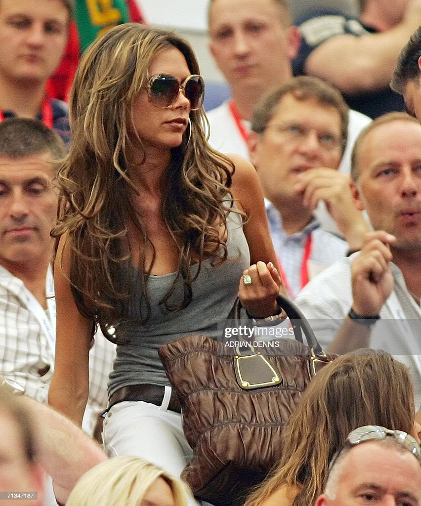 Victoria Beckham, wife of English midfielder David Beckham, arrives in the tribune prior to the World Cup 2006 quarter final football game England vs. Portugal, 01 July 2006 at Gelsenkirchen stadium.