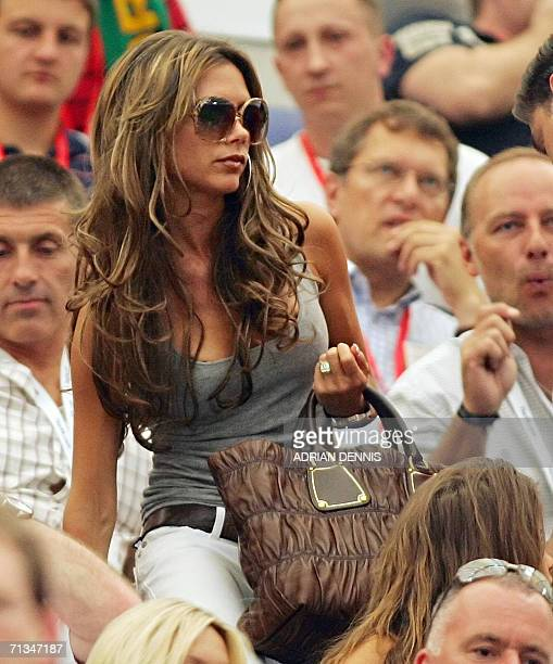 Victoria Beckham wife of English midfielder David Beckham arrives in the tribune prior to the World Cup 2006 quarter final football game England vs...
