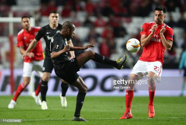 Gelson Fernandes of Eintracht Frankfurt battles for possession with Andreas Samaris of Benfica during the UEFA Europa League Quarter Final First Leg...