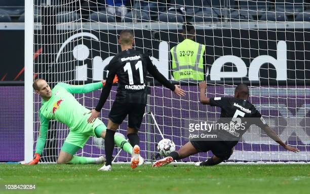 Gelson Fernandes of Eintracht Frankfurt scores his team's first goal during the Bundesliga match between Eintracht Frankfurt and RB Leipzig at...