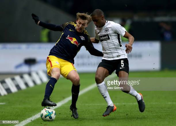 Gelson Fernandes of Frankfurt and Emil Forsberg of Leipzig battle for the ball during the Bundesliga match between Eintracht Frankfurt and RB Leipzig...