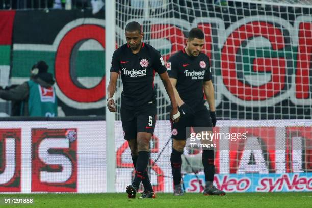 Gelson Fernandes of Frankfurt and Simon Falette of Frankfurt look dejected during the Bundesliga match between FC Augsburg and Eintracht Frankfurt at...