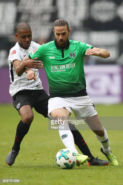 Gelson Fernandes of Frankfurt fights for the ball with Martin Harnik of Hannover during the Bundesliga match between Eintracht Frankfurt and Hannover...