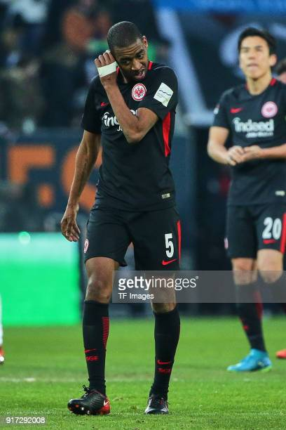 Gelson Fernandes of Frankfurt looks dejected after the Bundesliga match between FC Augsburg and Eintracht Frankfurt at WWKArena on February 4 2018 in...