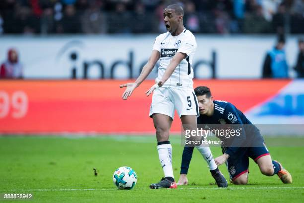Gelson Fernandes of Frankfurt reacts as he is challenged by James Rodriguez of Muenchen during the Bundesliga match between Eintracht Frankfurt and...