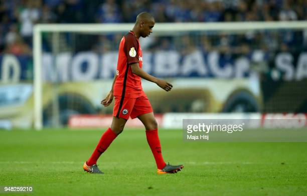 Gelson Fernandes of Frankfurt walks off the pitch after he gets the red card during the Bundesliga match between FC Schalke 04 and Eintracht...