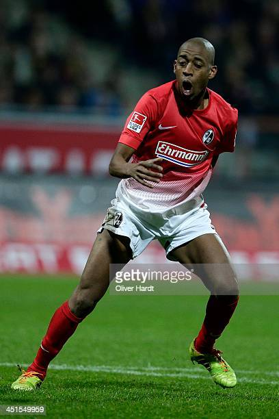 Gelson Fernandes of Freiburg celebrates after scoring their first goal during the Bundesliga match between Eintracht Braunschweig and SC Freiburg at...