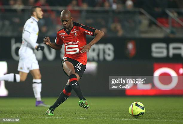 Gelson Fernandes of Rennes in action during the French Ligue 1 match between Stade Rennais FC and SCO Angers at Roazhon Park stadium on February 12...