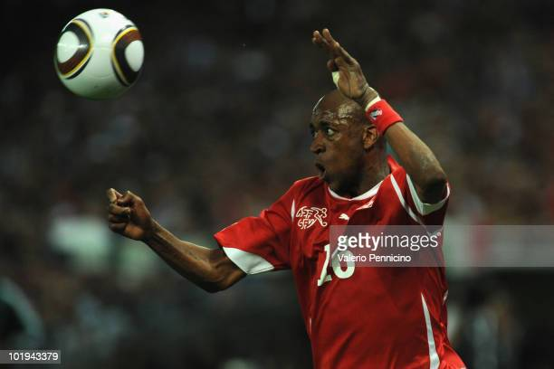 Gelson Fernandes of Switzerland in action during the international friendly match between Switzerland and Italy at Stade de Geneve on June 5 2010 in...