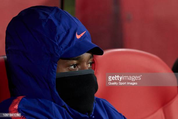 Gelson Martins of Atletico de Madrid on the bench before the Copa del Rey Round of 16 match between Girona FC and Atletico de Madrid at Montilivi...