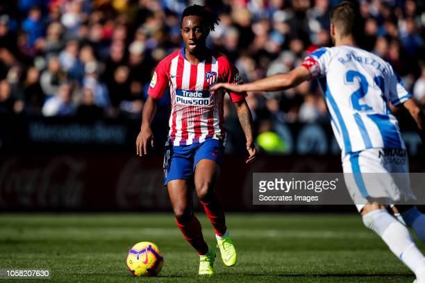 Gelson Martins of Atletico Madrid Ruben Perez of Leganes during the La Liga Santander match between Leganes v Atletico Madrid at the Estadio...