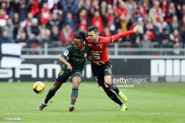 Gelson MARTINS of Monaco and Ramy BENSEBAINI of Rennes during the Ligue 1 match between Rennes and Monaco on May 1 2019 in Rennes France