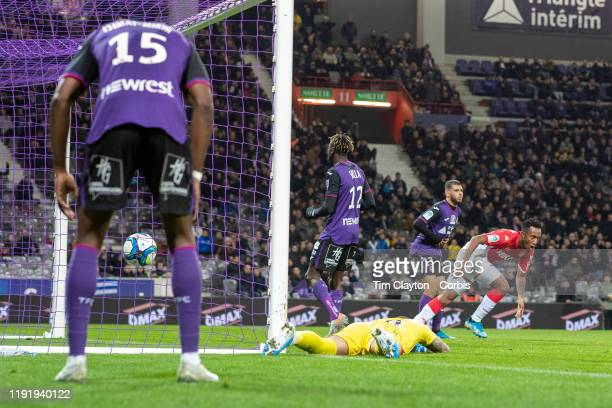 December 04: Gelson Martins of Monaco celebrates his winning goal as Nicolas Isimat-Mirin of Toulouse, Baptiste Reynet of Toulouse, Issiaga Sylla of...