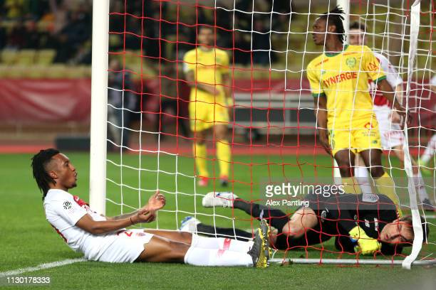 Gelson Martins of Monaco celebrates scoring his sides first goal during the Ligue 1 match between AS Monaco and FC Nantes at Stade Louis II on...