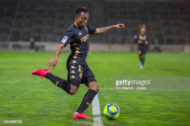 February 01: Gelson Martins of Monaco in action during the Nimes V Monaco, French Ligue 1, regular season match at Stade des Costieres on February...
