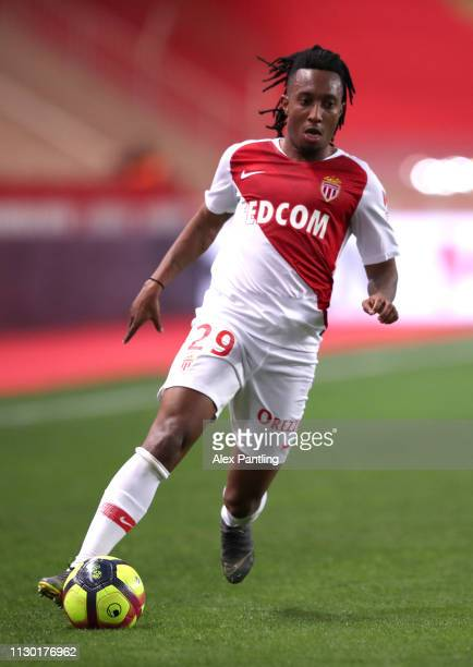 Gelson Martins of Monaco runs with the ball during the Ligue 1 match between AS Monaco and FC Nantes at Stade Louis II on February 16, 2019 in...