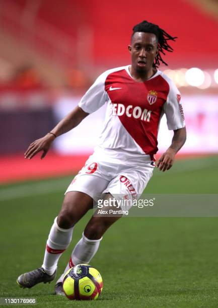 Gelson Martins of Monaco runs with the ball during the Ligue 1 match between AS Monaco and FC Nantes at Stade Louis II on February 16 2019 in Monaco...