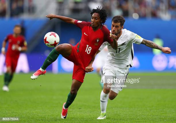 Gelson Martins of Portugal and Marco Rojas of New Zealand battle for possession during the FIFA Confederations Cup Russia 2017 Group A match between...