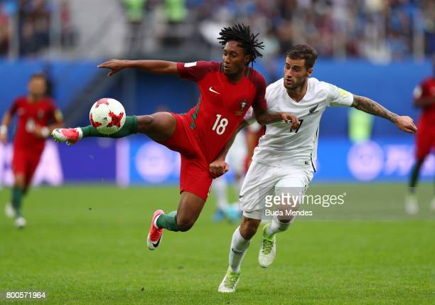 Gelson Martins of Portugal and Thomas Doyle of New Zealand battle for possession during the FIFA Confederations Cup Russia 2017 Group A match between...