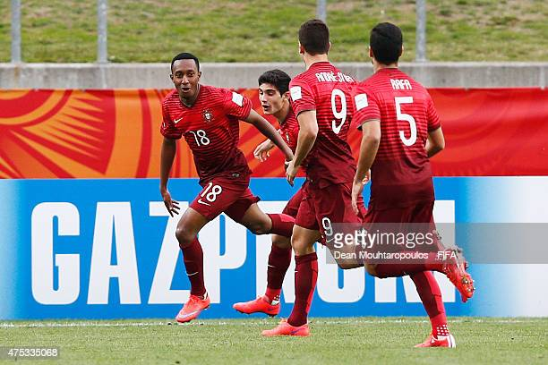 Gelson Martins of Portugal celebrates with team mates after he scores the first goal of the game during the FIFA U20 World Cup New Zealand 2015 Group...