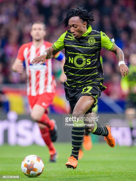 Gelson Martins of Sporting CP in action during the UEFA Europa League quarter final leg one match between Atletico Madrid and Sporting CP at Wanda...