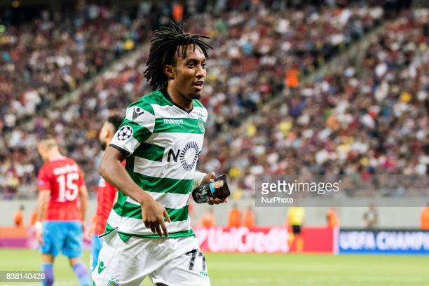 Gelson Martins of Sporting CP Lisbon during the UEFA Champions League 20172018 PlayOffs 2nd Leg game between FCSB Bucharest and Sporting Clube de...