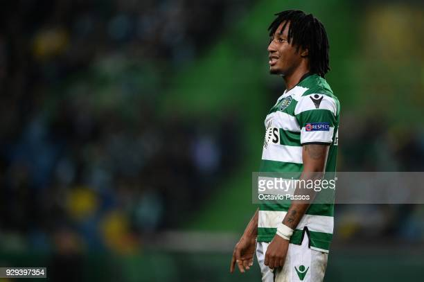 Gelson Martins of Sporting Lisbon reacts during the UEFA Europa League Round of 16 first leg match between Sporting Lisbon and Viktoria Plzen at...