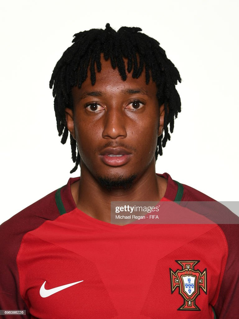 Gelson Martins poses for a picture during the Portugal team portrait session on June 15, 2017 in Kazan, Russia.
