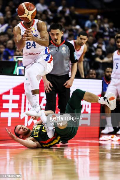 Gelvis Solano of Dominican Republic in action against Lukas Lekavicius of Lithuania during 2nd round Group L match between Dominican Republic and...