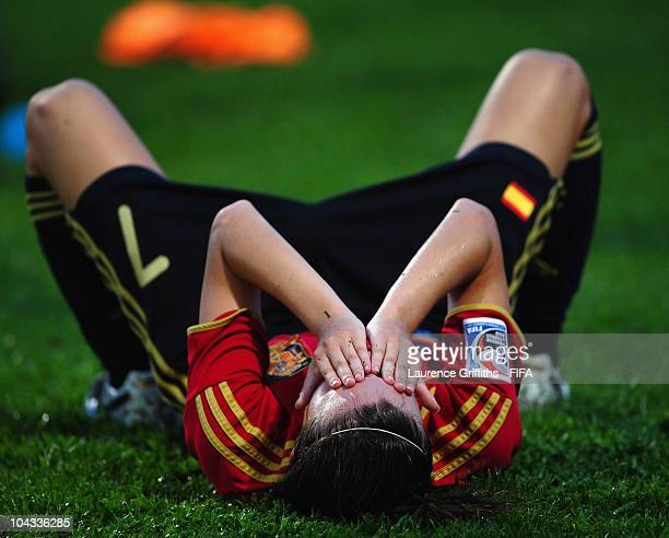 Gema Gili of Spain shows her dissapointment after losing to South Korea during the FIFA U17 Women's World Cup Semi Final match between South Korea...