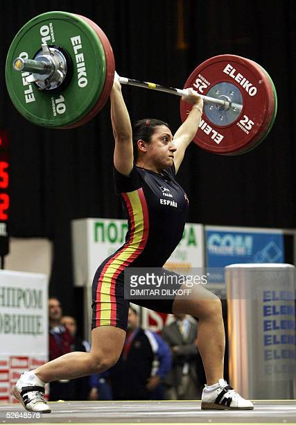 Gema Peris of Spain lifts in the women's 48 kg during the European Weightlifting Championship in Sofia, 19 April 2005. Svetlana Ulyanova won the gold...