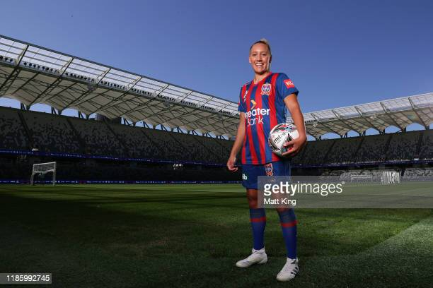 Gema Simon of the Newcastle Jets poses during the W-League 2019/20 Season Launch at Bankwest Stadium on November 07, 2019 in Sydney, Australia.