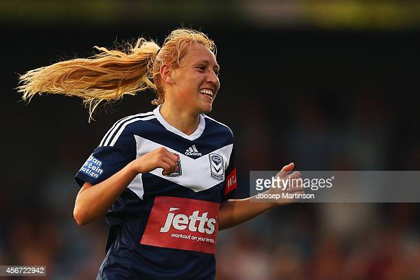 Gema Simon of the Victory celebrates her goal during the round four WLeague match between Sydney and Melbourne at Lambert Park on October 6 2014 in...