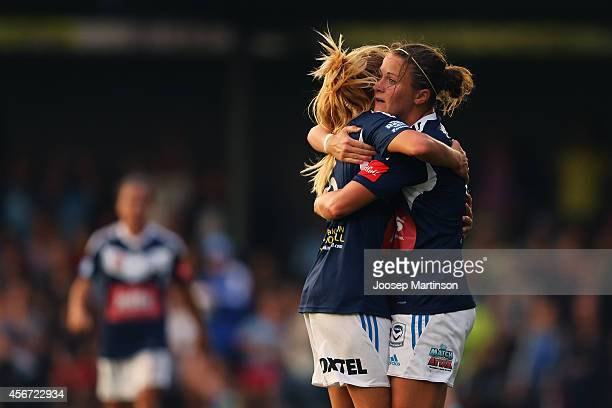 Gema Simon of the Victory celebrates her goal with Christine Nairn during the round four WLeague match between Sydney and Melbourne at Lambert Park...