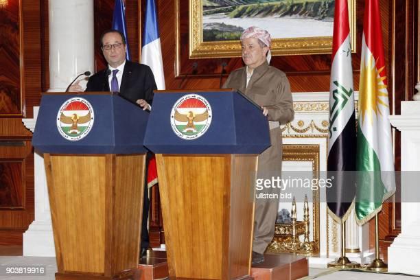 Gemeinsame Pressekonferenz von Masoud Barzani und Staatspräsident Francois Hollande anlässlich seines Besuchs in Erbil