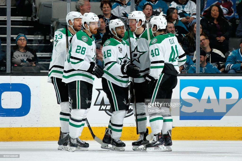 Gemel Smith #46 of the Dallas Stars celebrates his goal in the third period against the San Jose Sharks with teammates at SAP Center on February 18, 2018 in San Jose, California.