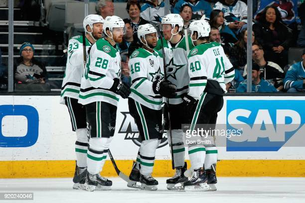 Gemel Smith of the Dallas Stars celebrates his goal in the third period against the San Jose Sharks with teammates at SAP Center on February 18 2018...