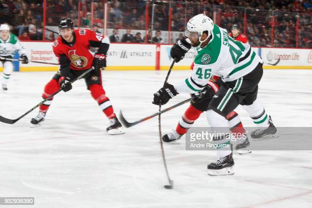Gemel Smith of the Dallas Stars shoots the puck against the Ottawa Senators at Canadian Tire Centre on March 16 2018 in Ottawa Ontario Canada