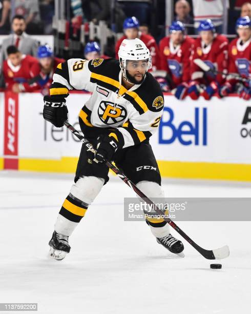 Gemel Smith of the Providence Bruins skates the puck in a shootout against the Laval Rocket during the AHL game at Place Bell on March 20 2019 in...