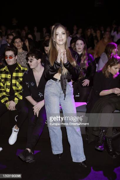 Gemeliers and Ana Mena attends Custo Barcelona fashion show during the Merecedes Benz Fashion Week Autum/Winter 202021 at Ifema on January 30 2020 in...