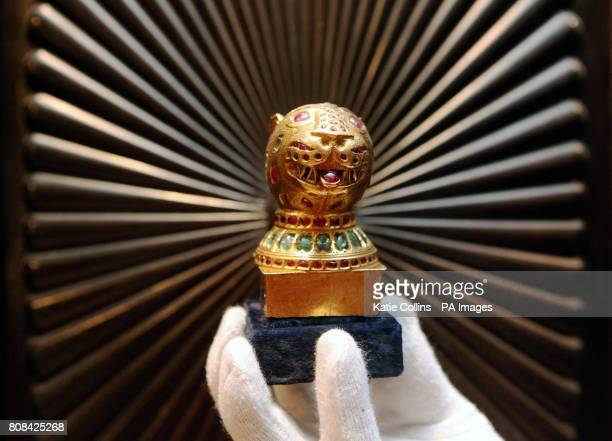 A gemencrusted gold finial from the octagonal golden throne of Tipu Sultan the Tiger of Mysore at Bonhams in London where it will be going under the...
