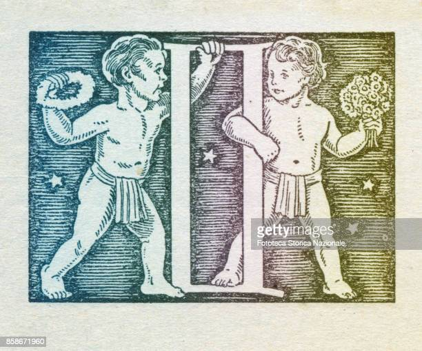Gemini is the third sign of the zodiac of western astrology mobile and of air from May 21 to June 21 Colored version of woodcut of 1942 Italy Milan...